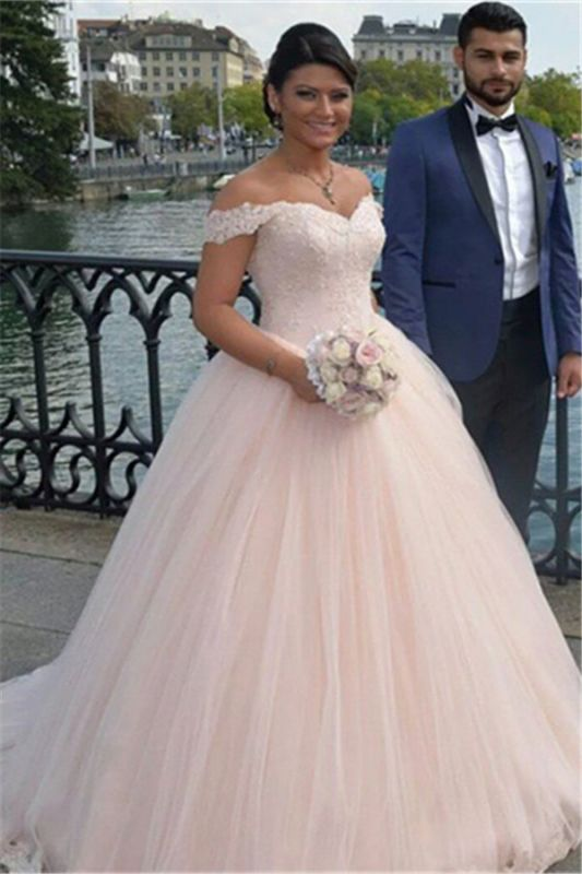 Latest Off Shoulder Ball Gown Princess Dress Tulle Lace Applique Wedding Dress