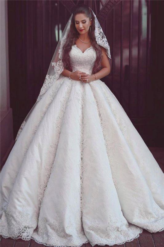 Elegante Brautkleider mit Spitzenträgern | Puffy ärmellose Ballkleider für die Braut