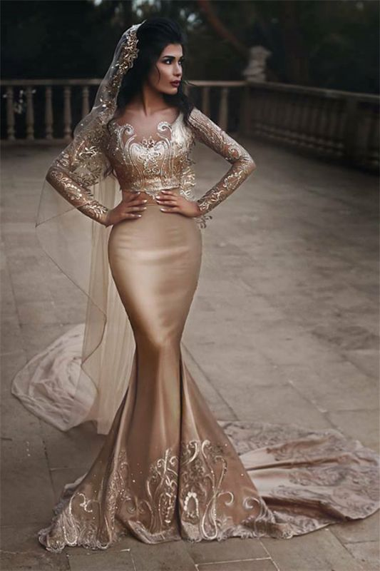 Gold Lace Appliques Two Piece Prom Dresses | Long Sleeve Mermaid Sexy Wedding Dress