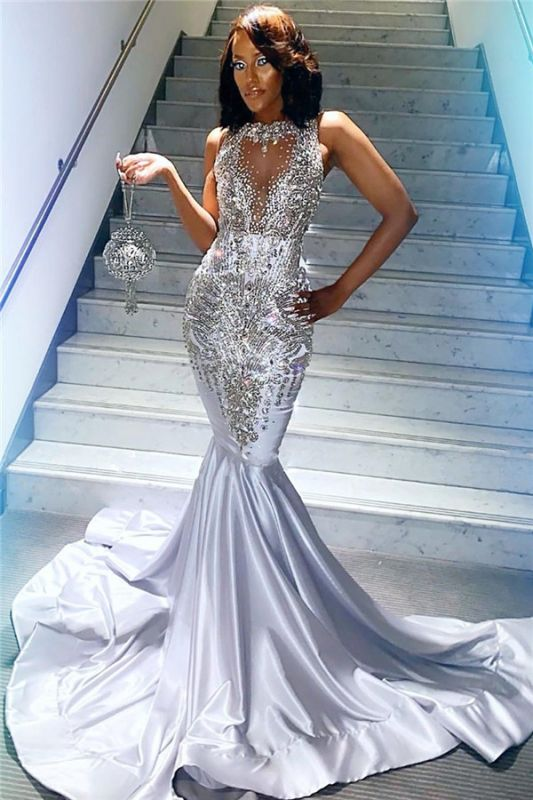 Silver Mermaid Sexy Prom Dresses Cheap   Sleeveless Crystals Beads Sequins Evening Gowns JY0003