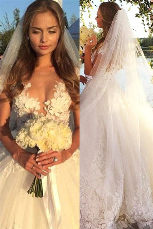 Gorgeous Short Sleeve Tulle Bridal Gowns New Lace Applique Long Princess Dresses