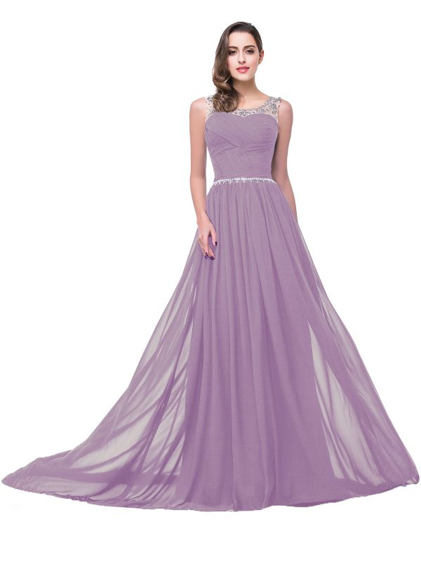 AIMEE | A-line Court Train Chiffon Party Dress With  Beading