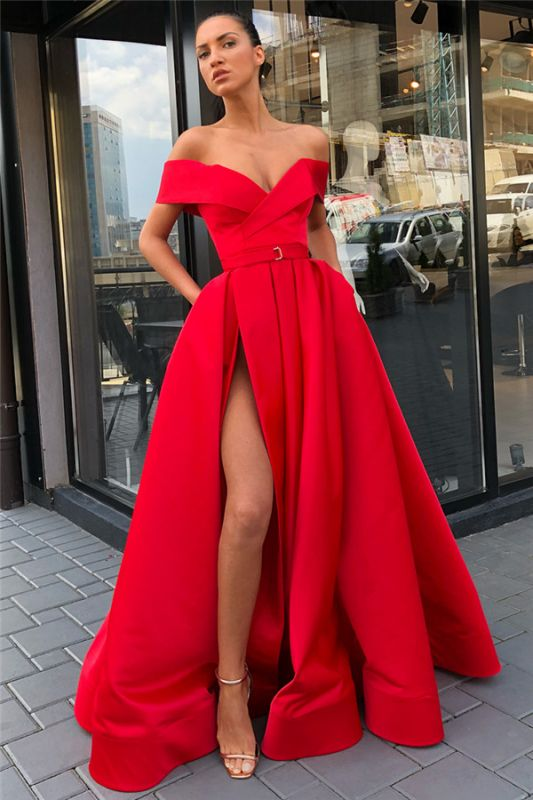 Off The Shoulder Formal Dresses Cheap | Sexy Long Evening Gowns with Side Slit