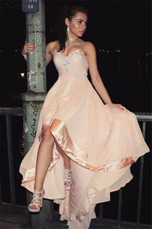 Fashion Sleeveless Appliques  Sweetheart High Low Prom Homecoming Dress
