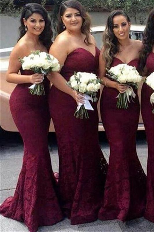 Sweetheart-Neck Mermaid Burgundy Long Lace Bridesmaid Dress