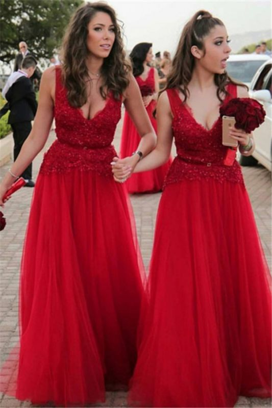 V-neck Beads Appliques Red Bridesmaid Dresses Sexy | Tulle Cheap Long Bridesmaid Dress Online