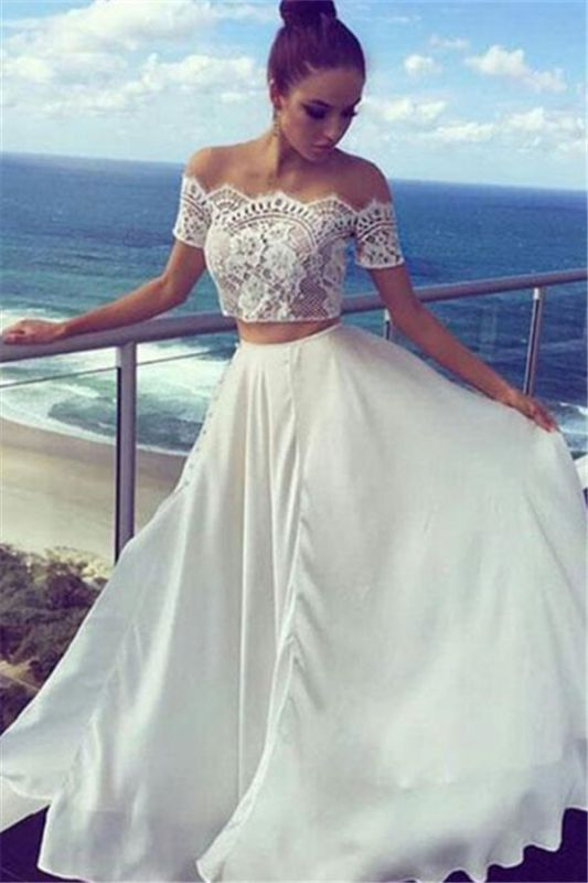 Long Lace Off-the-shoulder White Two-pieces Evening Dress