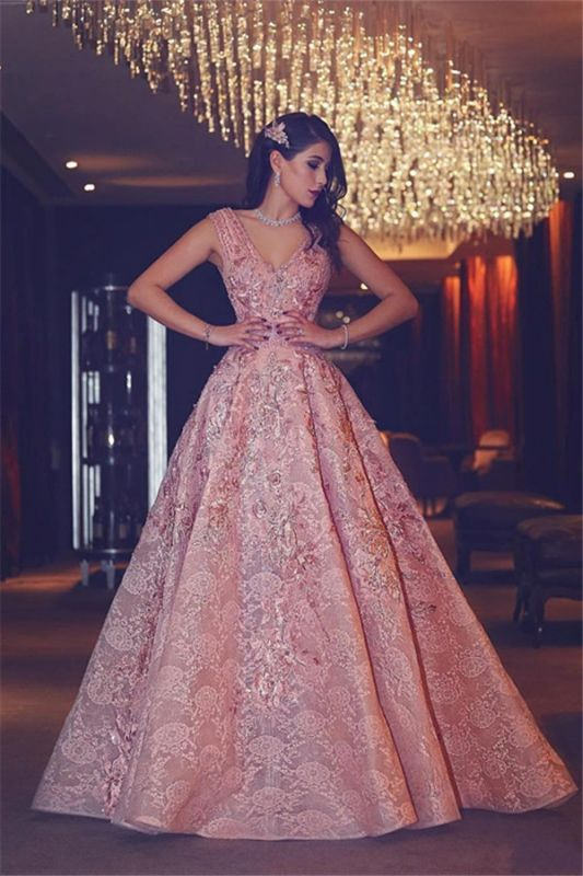 Flowers Beading Luxury Pink Puffy V-Neck Lace Evening Gowns