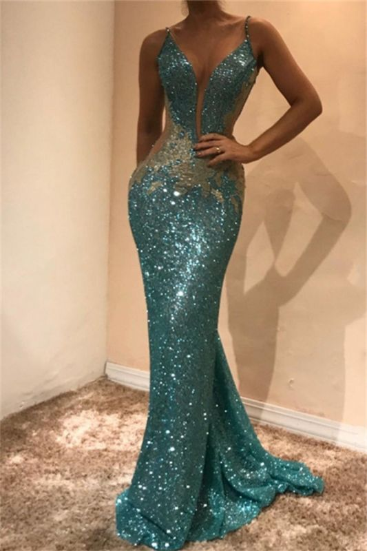 Stunning Sequined Bodycon Lace Sleeveless Evening Dress | Spaghetti Strap Evening Gown