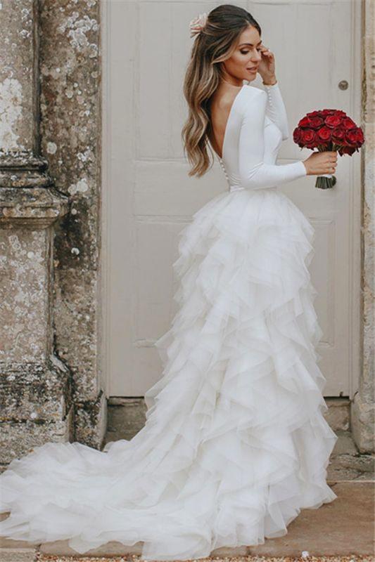 Elegant Appliques Cheap Wedding Dresses | Side Slit  Mermaid Sleeveless Flowers Bridal Gowns