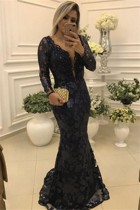 Modern Long Sleeve Mermaid V-neck Lace Zipper Mother Of Bride Dress