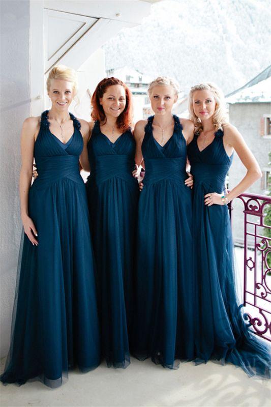 Navy A-line Halter Elegant Floor-length Simple Bridesmaid Dress