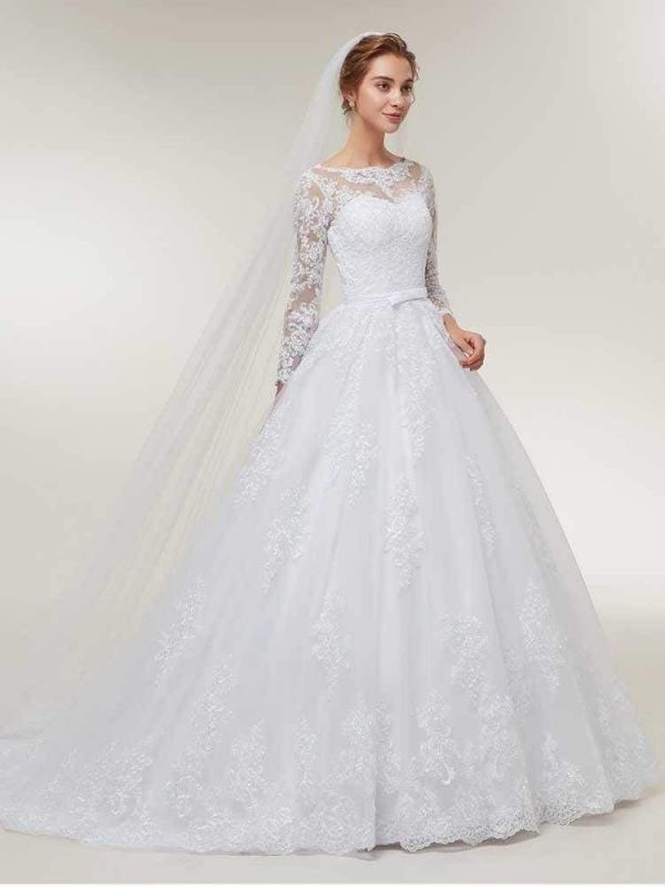 Stunning White Floral Lace Appliques Long Sleeves Aline Wedding Gown