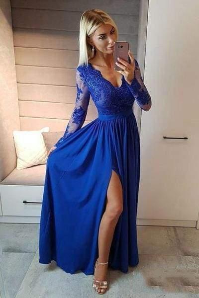 Royal Blue V Neck Long Sleeve Prom Floor Length Split Evening Dress with Lace
