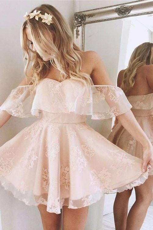 A-Line Lace Off-Shoulder Short Prom Dresses Pearl Pink Homecoming Dress