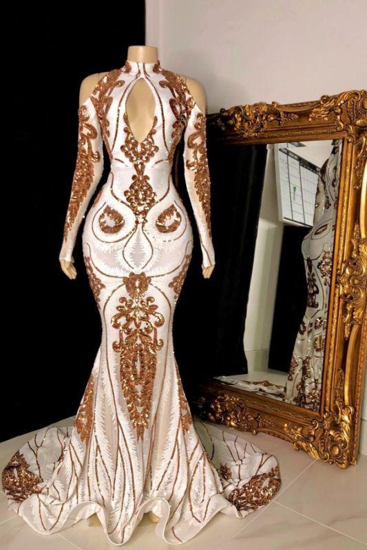Wunderschöne Perlenstickerei Pailletten Schlüssellochausschnitt Lange Ärmel Meerjungfrau Abendkleider