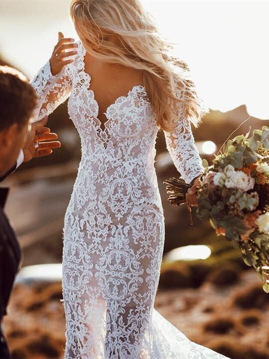 Langarm-Blumenspitze rückenfreie Meerjungfrau Brautkleider