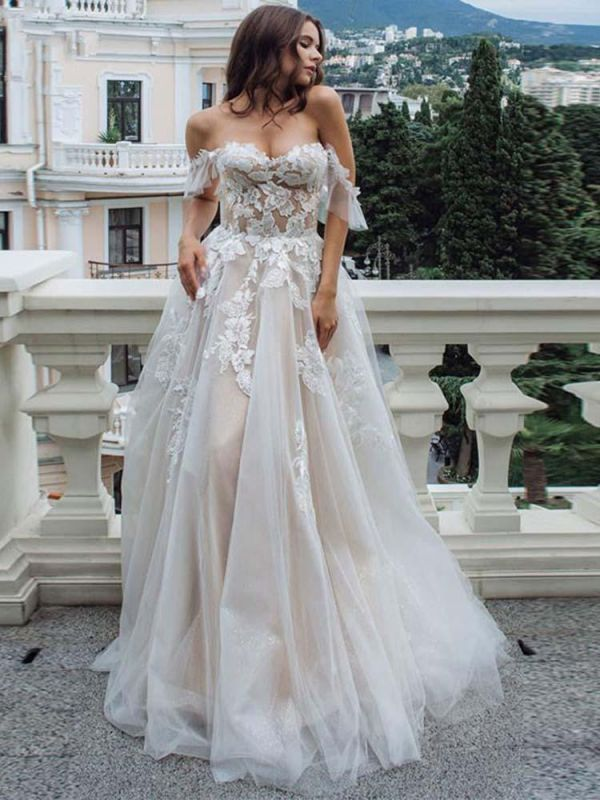 Off The Shoulder  A-line Tulle  Appliques Wedding Dresses Bridal Gowns