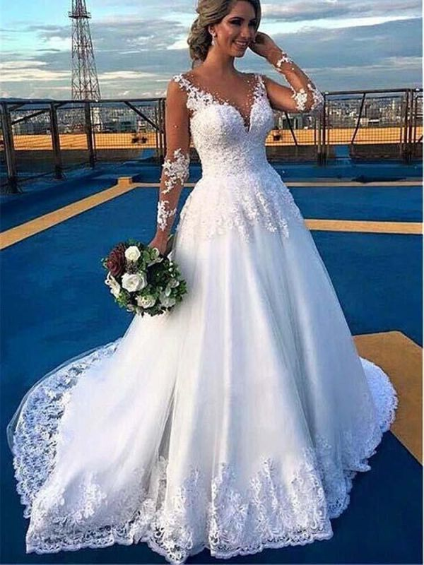 Stylish V-Neck Lace Appliques Aline Wedding Gown Long Sleeves Bridal Dress