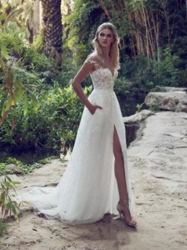 Stunning Off Shoulder Floral Lace Simple Wedding Dress Side Slit with Pocket