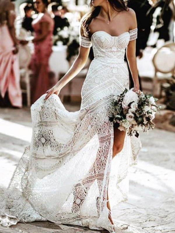 Elegant Sweetheart Lace Mermaid Boho Wedding Dresses Off Shoulder Simple Dress for Bide