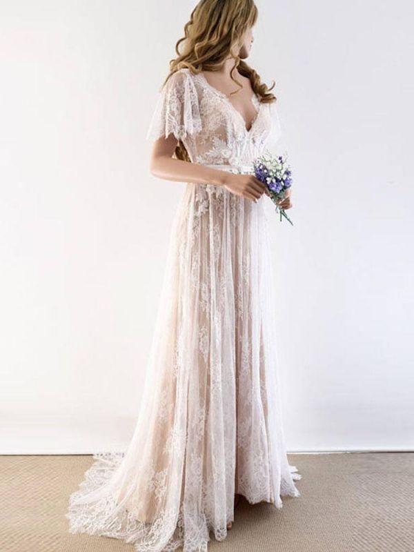 Lace Half Sleeves Boho Wedding Dress Chic Beach Bridal Gowns