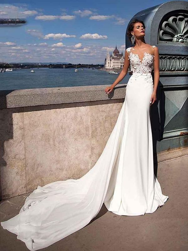 Sexy ärmelloses Meerjungfrau-Brautkleid mit Sweep-Zug