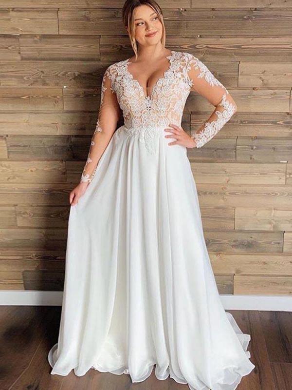 Gorgeous V-Neck Long Sleeves Lace Ruffles Wedding Dresses