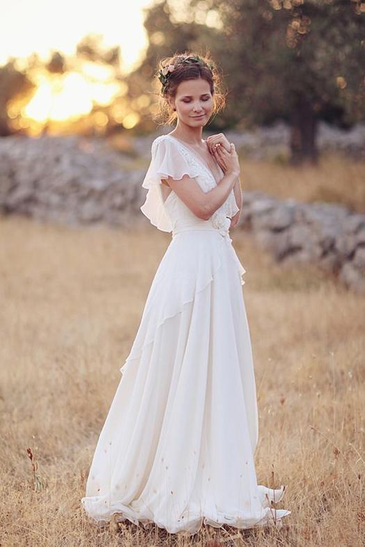 V Neck Chiffon Boho Unique Cap Sleeves Beach Wedding Dress