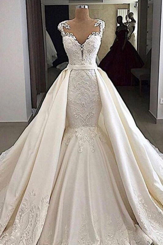 Sheer Tulle Appliques Mermaid Wedding Dresses | Sleeveless Detachable Train Bridal Gowns