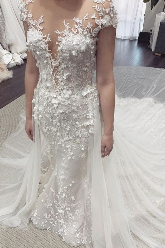 Floral Sheer Tulle Appliques Mermaid Wedding Dresses | Sleeveless Bridal Gowns With Detachable Train