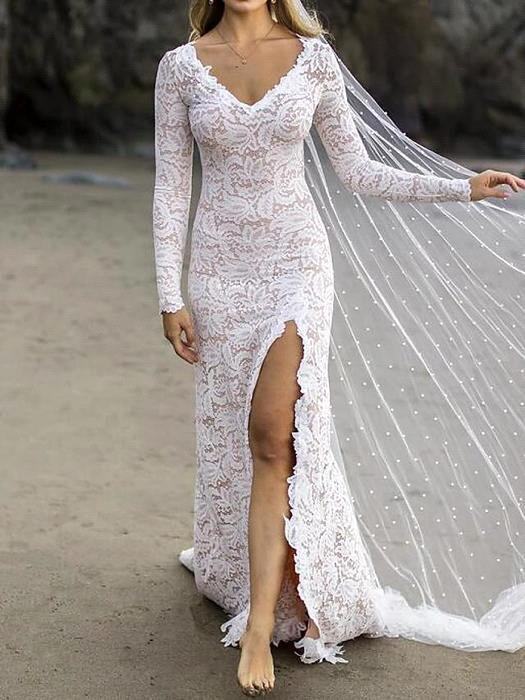 Gorgeous Mermaid/Trumpet Wedding Dresses V Neck Sweep Train Lace Satin Long Sleeve