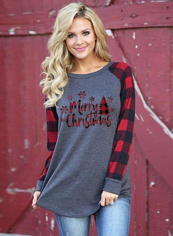 Women Merry Christmas Print Plaid Blouse Casual Long Sleeve Tops