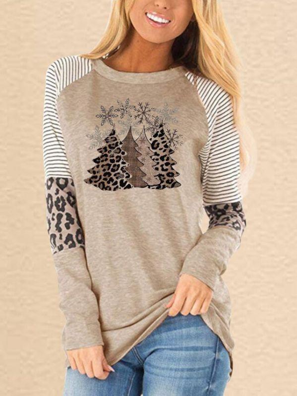 Christmas Trees Print Sweatshirts Casual Women Tops