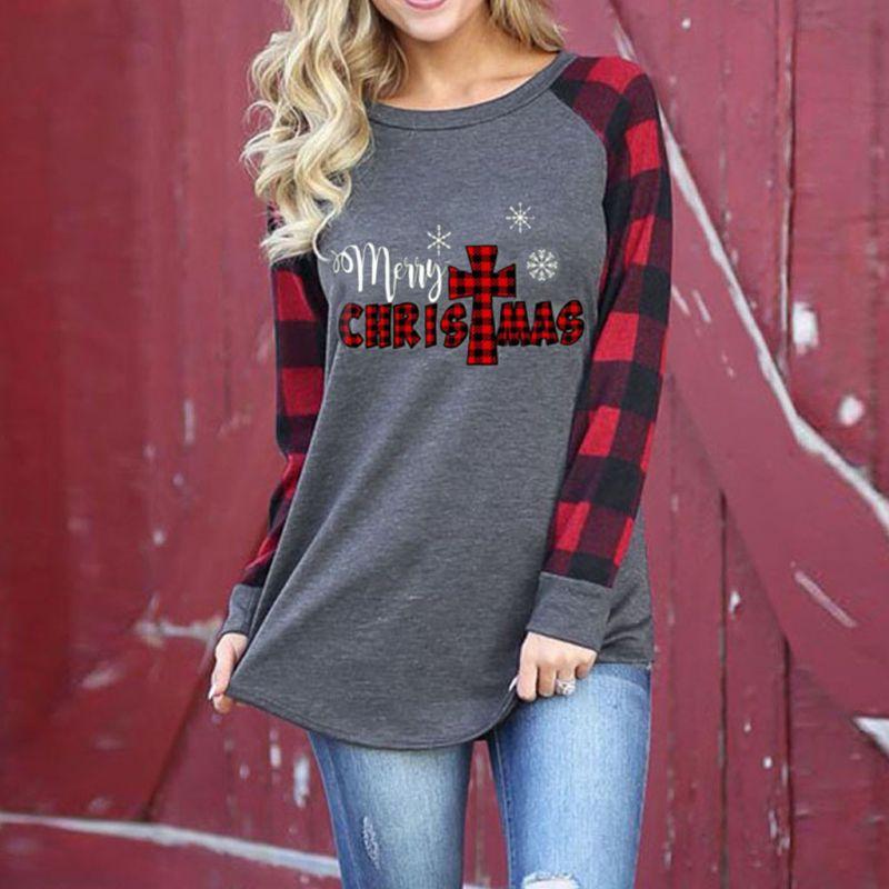Women's Merry Christmas Print Plaid Long Sleeve Sweatshirt