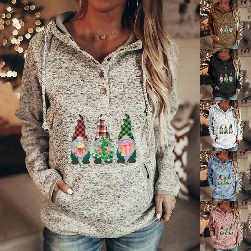 Sudaderas con capucha de villano navideño para mujer Sudaderas casuales de manga larga