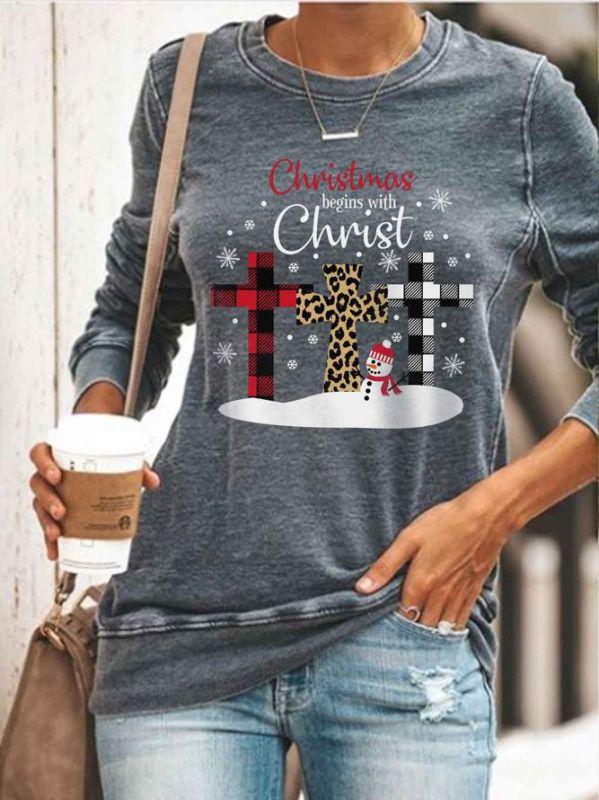 Christmas Sweater Shirt Long Sleeve Women Top Round Neck