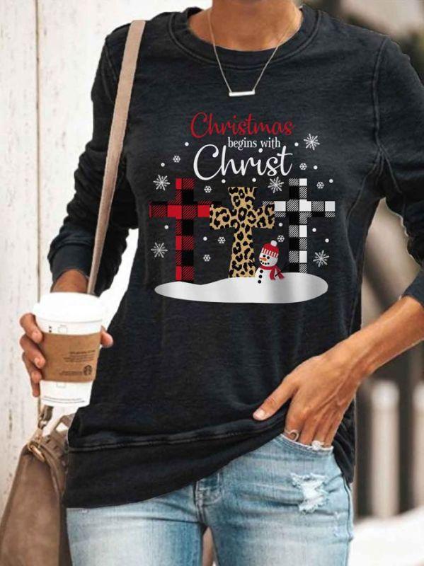 Weihnachtspullover Shirt Langarm Frauen Top Rundhalsausschnitt