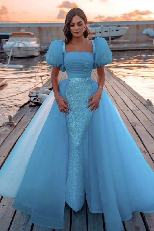 Glitter Sky Blue Mermaid Evening Gowns Short Puffy Sleeve Party Gowns