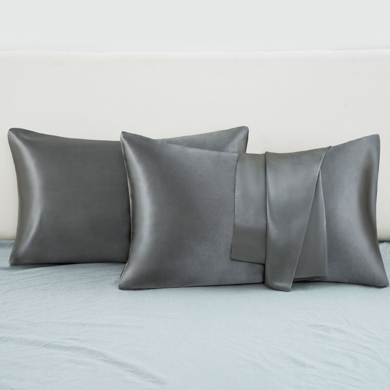 Satin Pillowcase 2 Pack for Hair and Skin Silk Pillowcase-Slip Cooling Satin Pillow Covers with Envelope Closure