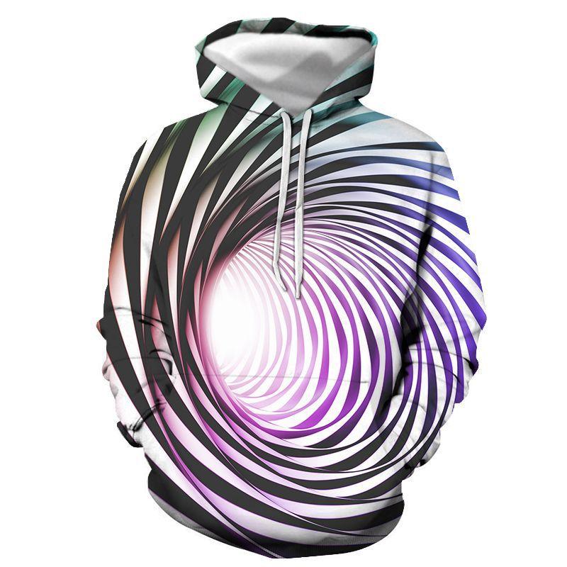 3D Black hole Mans Hoodie Fleece Zip Jacket Sweatshirt
