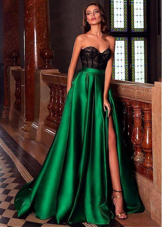 Charming Sweetheart Sleeveless Satin Evening Dress Black Lace Prom Dress Side Slit