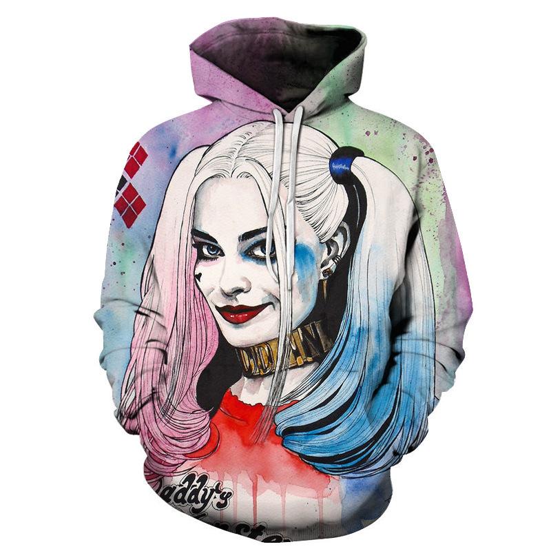 Unisex 3D Harley Quinn Hoodies Bedruckte Pullover-Sweatshirts mit Taschen