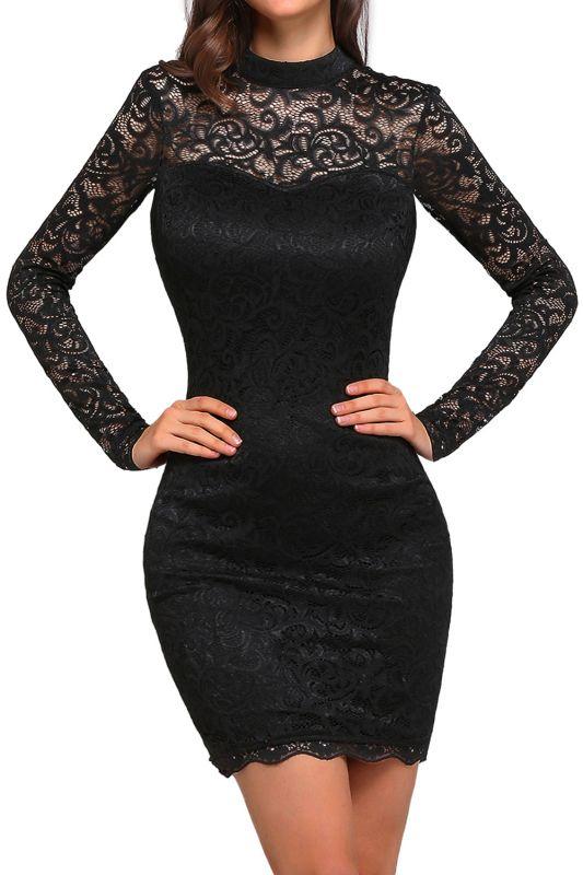 ARYANNA   Sheath High Neck Short Black Lace Cocktail Dresses