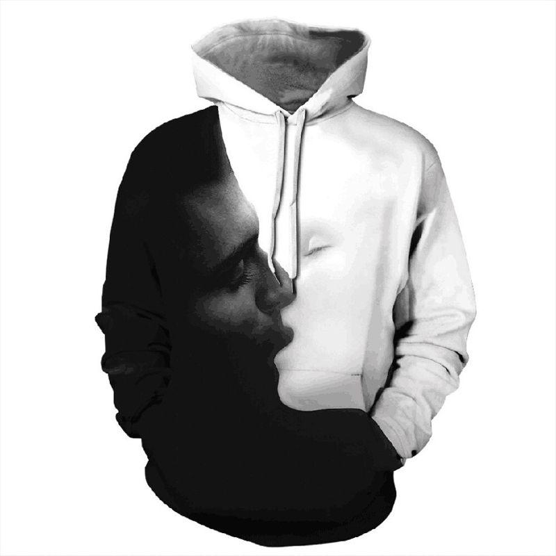 Sudadera con capucha estampada con capucha blanca negra para hombre