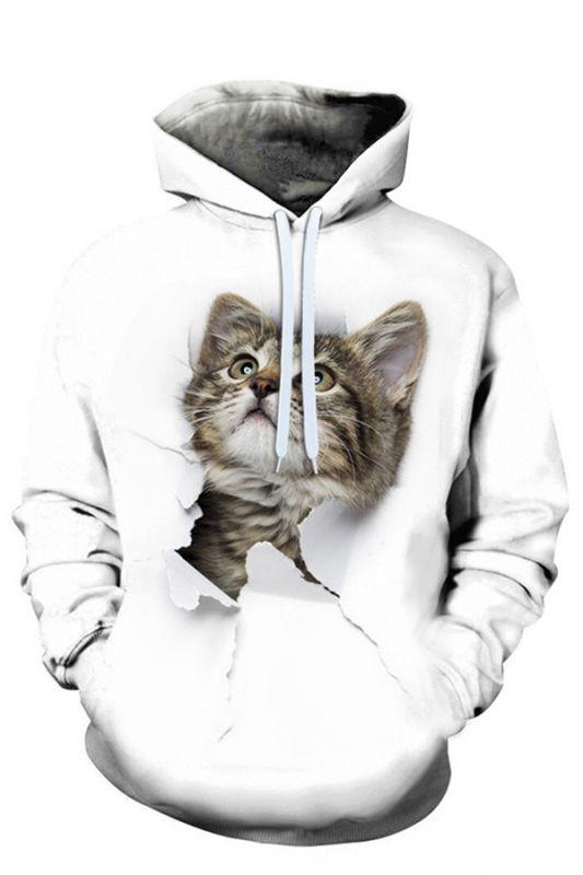 Men's Digital Printed Sweatshirts Hooded Top Cute Cat Pattern Hoodie