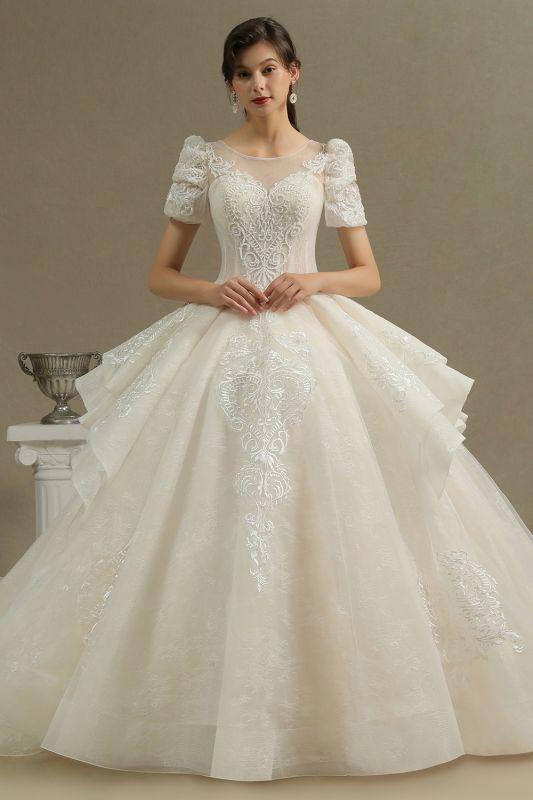 Elegant Short Sleeve Princess Ball Gown ALine Lace Appliques Wedding Dress