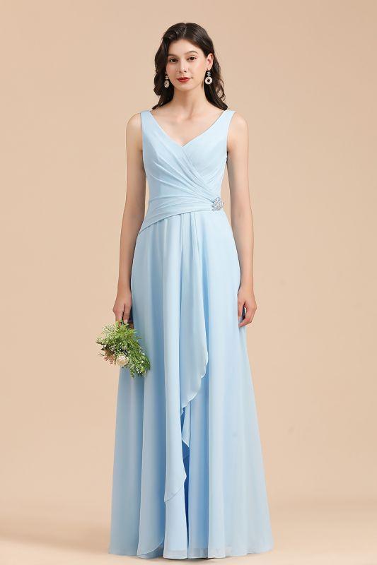 Sleeveless V-Neck Ruffle Chiffon ALine Bridesmaid Dress Simple Wedding Dress