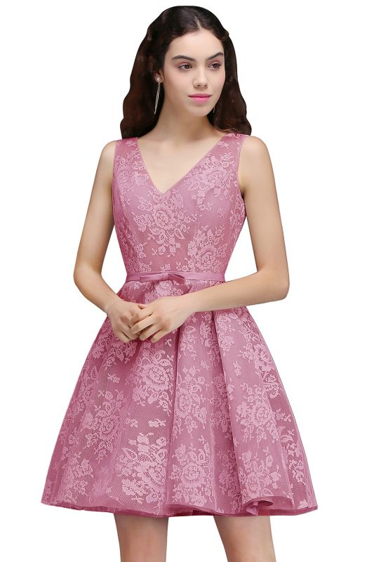 ALEAH   A Line Strtaps Lace Cocktail Homecoming Dresses With Sash