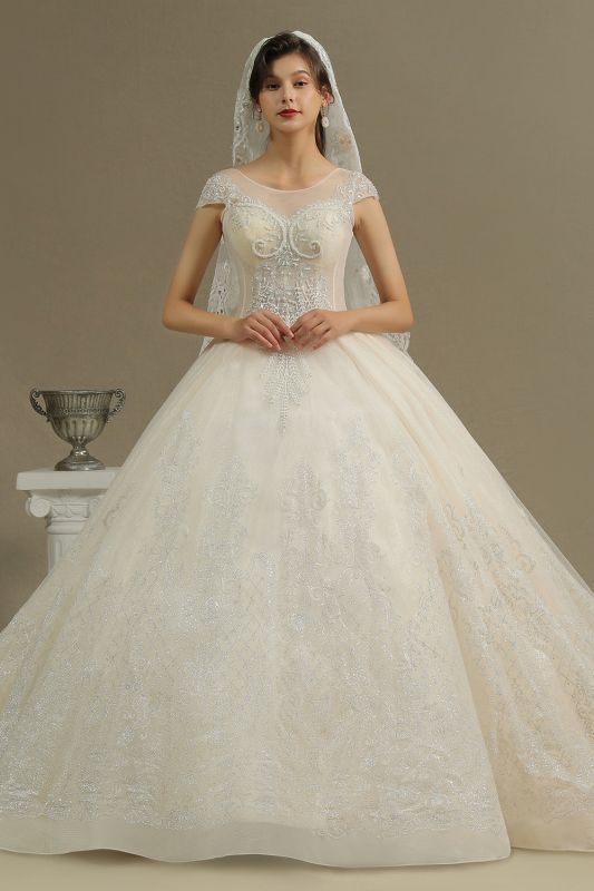 Stylish Cap Sleeves  Aline Wedding Dress Tulle Lace Appliques Bridal Gown